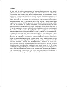 microemulsion thesis Microemulsion: prediction of the phase diagram with a modi ed a thesis submitted for the degree of 363 microemulsion with equal proportion of water and decane.