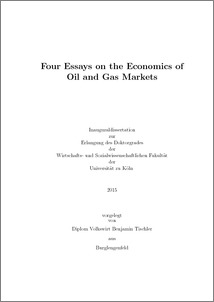 four essays on the economics of oil and gas markets kolner  abstract